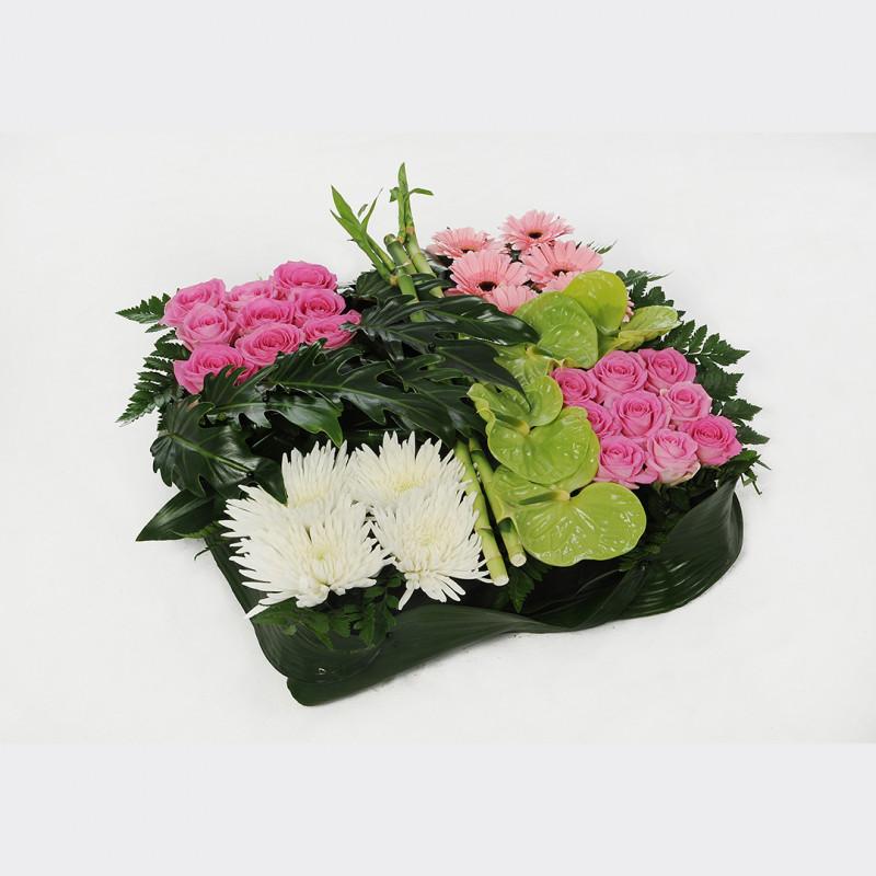 Coussin carré fleuri