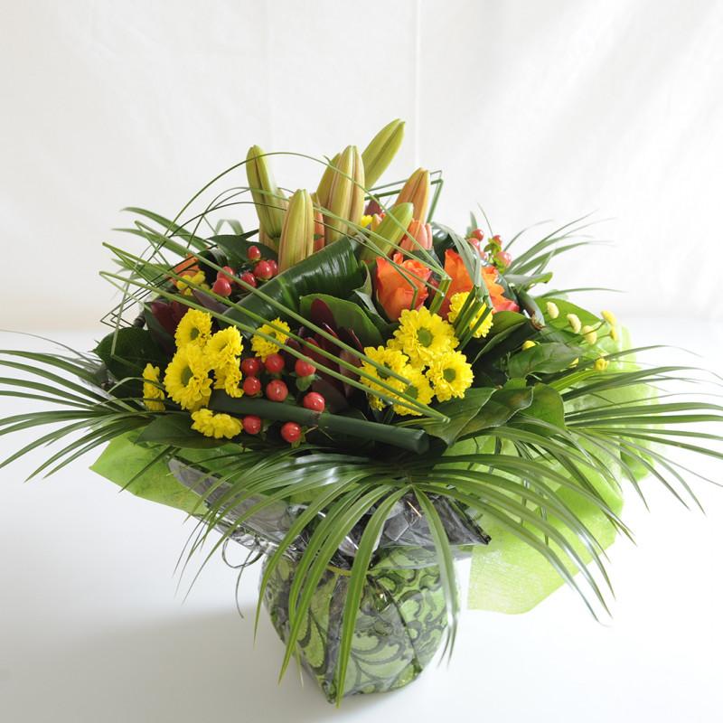 Bouquet deuil orange et jaune