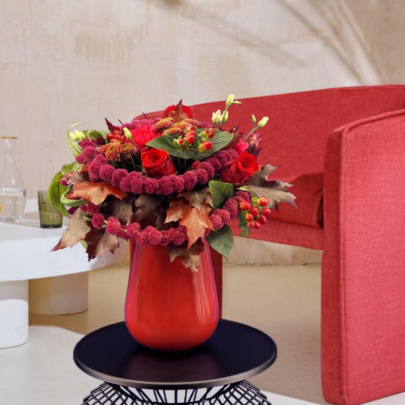 Bouquet automne avec des lysianthus et des roses