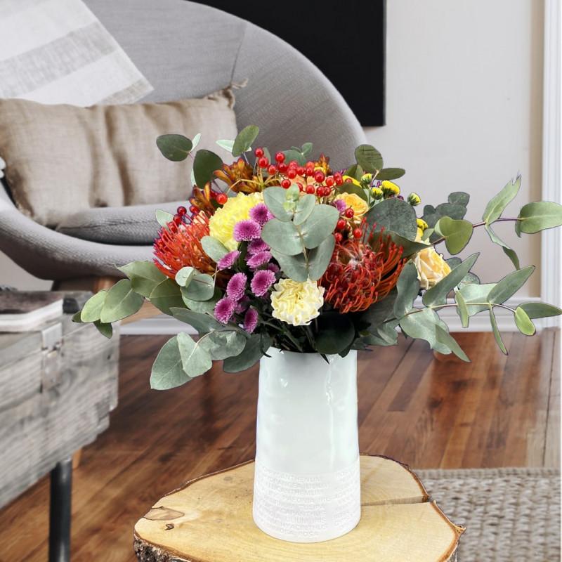 Bouquet automne avec des roses et anigozanthos